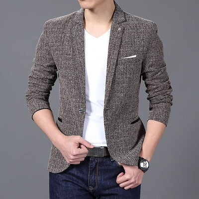 Men'S Fashion Brand Solid Linen Personality Pocket Male Single-Breasted Single Button Terno coffee 3xl
