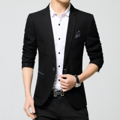Blazers Leisure Jacket Fashion Blazers Coat Single Button Suit Business Male Formal Suit Jacket balck m