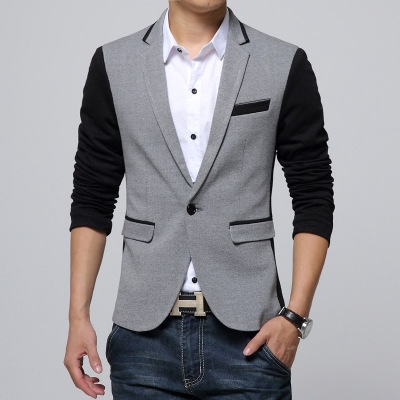 Men Blazers Fashion Masculine Blazer Men Slim Fit Suit Men Coats Casual Suit Blazer Male gray m