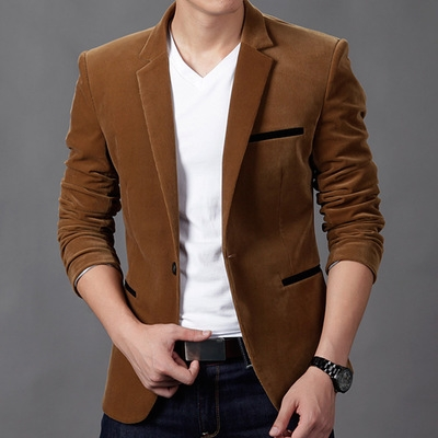 New Fashion Mens Autunm Winter Casual Slim Fit Blazers and Jackets Male Business Suit blazer khaki m
