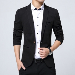 Men Casual Suits Blazers Leisure Jacket Fashion Blazers Coat Single Button Suit Business Male balck m