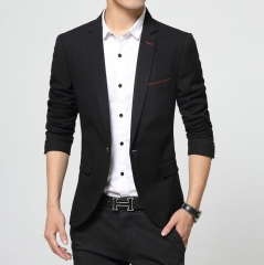 Formal Blazer Men Business Suits  Slim Fit Coats Slim Male Fashion Handsome One Button Blazers balck m
