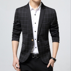 Masculine Blazer Men Fashion Solid Color Blazers Men Casual Suit Coats Brand Blazer Male Clothing balck m