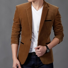 Blazer British's Style casual Slim Fit suit jacket male Blazers men coat Terno Masculino khaki l