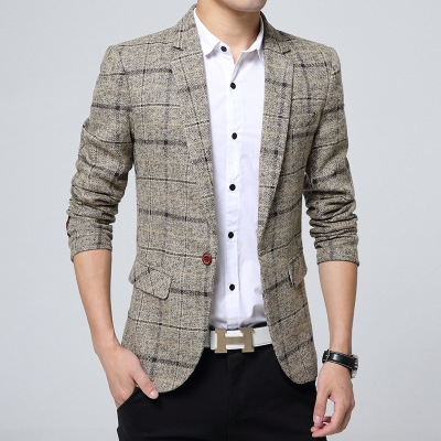 Blazer Mens knitting Plaid Suit Fashion Single Button Casual Silm Social Business men jacket Coat khaki m