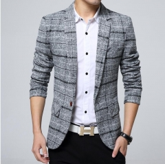 Blazer Mens knitting Plaid Suit Fashion Single Button Casual Silm Social Business men jacket Coat gray m