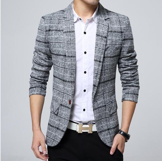 Blazer Mens knitting Plaid Suit Fashion Single Button Casual Silm Social Business men jacket Coat gray 2xl