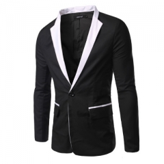 Fashion stitching men's Slim casual suit single row of a buckle men's suits white balck m