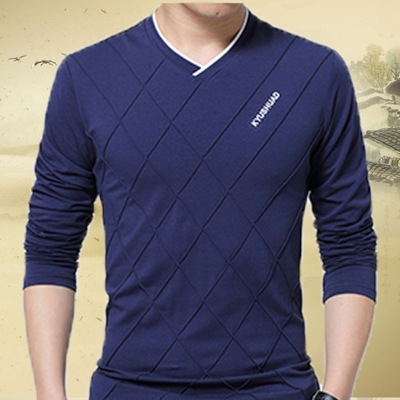 Fashion Men T-shirt Slim Fit Custom T-shirt Crease  Stylish Luxury V Neck Fitness T-shirt Tee Shirt blue 5xl