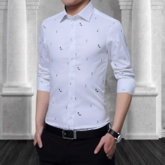 Cotton Men Print Shirt Long Sleeve Boat Print Formal Designer Shirt Squared Collar Men Cloth white m