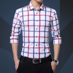 Casual Cotton Plaid Shirt Men Long Sleeve Red and White Plaid Turn Down Collar Dress Shirt for Man white m