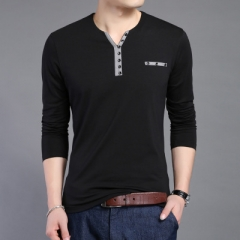 Cotton T Shirt Men New Long Sleeve T-Shirt Men Henry Collar Shirt Men black m