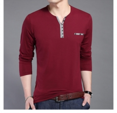 Cotton T Shirt Men New Long Sleeve T-Shirt Men Henry Collar Shirt Men wine red 4xl