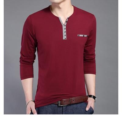 Cotton T Shirt Men New Long Sleeve T-Shirt Men Henry Collar Shirt Men wine red 4xl