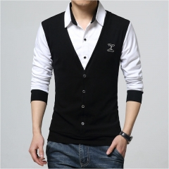 Fashion Patch Design Men's Shirt T-shirt Fake Two Long Sleeve Turn-down Collar Cotton T Shirt balck m