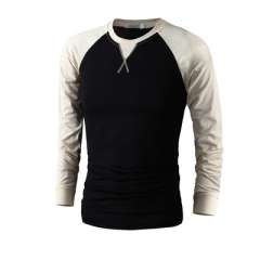 T-Shirt Men  Spring Autumn New  Cotton T Shirt Men Solid Color Tshirt Mandarin Collar Long Sleeve black m
