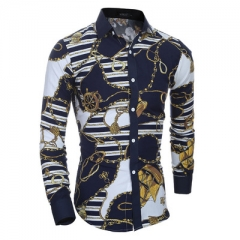 Clothing Plus size M-2XL  Mens Floral Shirt Casual Shirts Mens Long Sleeve Print Shirt Camisa 01 l