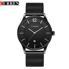 CURREN Watches Men Clock Man Ultra Thin Full Steel Military Male Quartz-Watch Relogios Masculino black one size