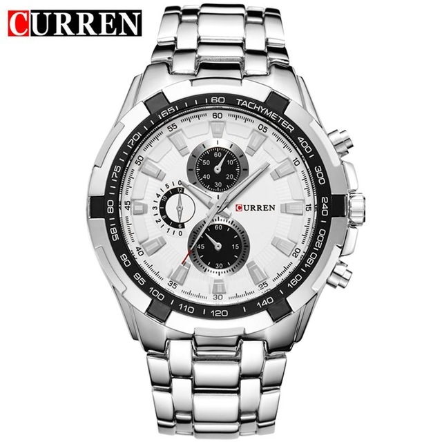 2018 CURREN Hot Sale Stainless Steel Men Watch Mens Fashion Arabic Number Dial Sport Quartz Watch 10 one size