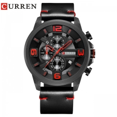 2018 CURREN Top Brand Chronograph Quartz watch Men Sport Fashion Casual WristWatches For Leather 01 one size