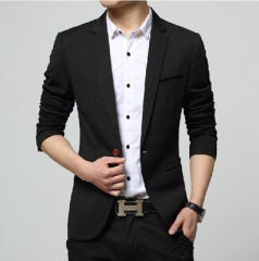 Men Blazer Casual Suits Slim Fit Suit Jacket Men Pure Cotton Costume Homme Terno Masculin Blazers balck xl