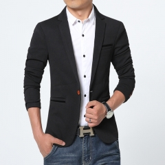 Luxury Men Blazer Spring Brand High Quality Cotton Slim Fit Men Suit Terno Masculino Blazers Men balck m