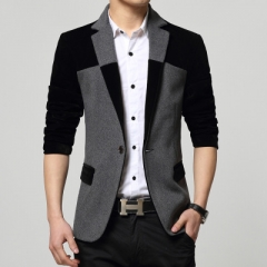 2018 New Style Fashion Men's Suit Slim Fit Cotton Cashmere Suit High Quality Casual Men Suit Jacket balck m