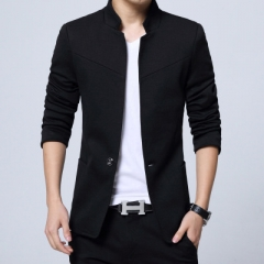 2018 Big Mens Chinese Blazers Casual Blue Black Grey Red Stand Collar Blazer Mens Fashion Clothing balck m