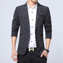 Trend Men Slim Single Button Long Sleeve Small Wool Suit Jacket / Male Business Casual Blazers Coat balck m
