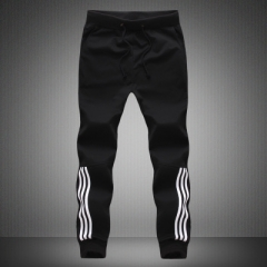 Fashion Tracksuit Bottoms Mens Pants Cotton Sweatpants Mens Joggers Striped Pants Gyms Clothing black xl