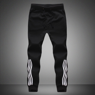 Fashion Tracksuit Bottoms Mens Pants Cotton Sweatpants Mens Joggers Striped Pants Gyms Clothing black m