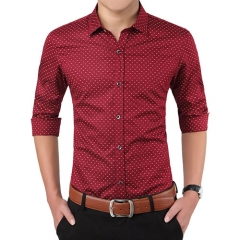2018 Autumn Fashion Brand Men Clothes Slim Fit Men Long Sleeve Shirt Men Polka Dot Casual Men Shirt red m