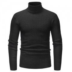 Men'S Sweater Men's Turtleneck Solid Color Casual Sweater Men's Slim Fit Brand Knitted Pullovers balck m