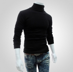 Winter Men'S Sweater Turtleneck Solid Color Casual Sweater Men's Slim Fit Brand Knitted Pullovers balck xl