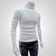 Winter Men'S Sweater Turtleneck Solid Color Casual Sweater Men's Slim Fit Brand Knitted Pullovers white l
