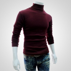 Winter Men'S Sweater Turtleneck Solid Color Casual Sweater Men's Slim Fit Brand Knitted Pullovers wine red l