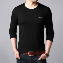 Hot Tshirt Men Korean Slim Fit Solid Color Trends Street Wear Tops Long Sleeve Tee Mens Clothing black m pure cotton