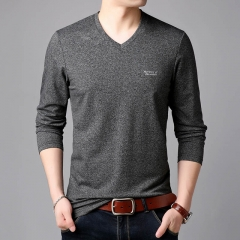 T Shirts For Men Korean Slim Fit Streetwear Tops Trends V Neck High Quality Long Sleeve Tee Clothing gray l pure cotton