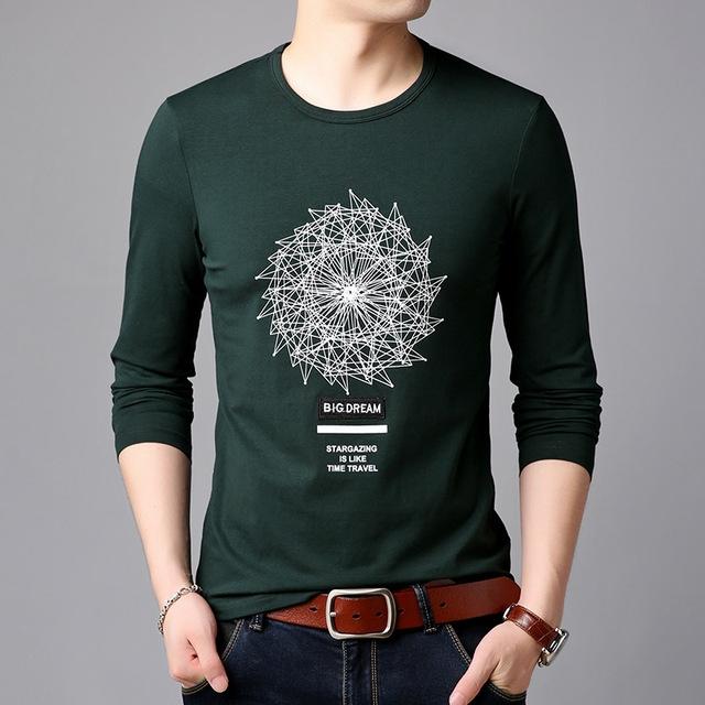 T Shirts Men Print Trends Street Style Tops Korean Slim Fit O Neck