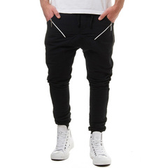 Male New Fashion 2018 Slim Solid color Pleated Men Casual Pants Man Trousers Designer Mens Joggers balck m