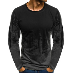 Long Sleeve Male Hiphop Streetwear Fitness Tshirts Men Printed Male T-shirts Bottoms 3XL Plus Size gray m polyester,cotton