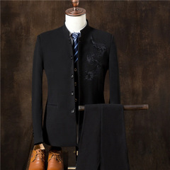 3 Pieces Chinese Style Mandarin Collar Men's Suits Male China Dragon Embroidered Business Men balck m