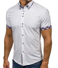 Wholesale  Men Shirt  Brand Fashion Casual Slim Short Sleeve Dress Shirt Cotton Plus SIze white m