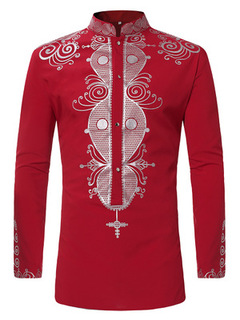 Thin Shirts Long Sleeve Bohemia Vintage RetroTops Mens African Print Ethnic Long Blouses M-3XL red m