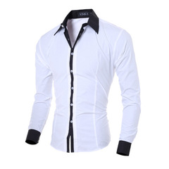 NEW Fashion Personality Men's Casual Slim Long-sleeved Shirt Top Blouse white m