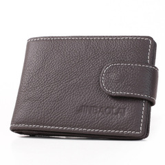 Leather Men Wallets Solid Sample Style Zipper Purse Man Card Horder Leather High Quality Male Wallet dark coffee 11cm*7.7cm*1cm