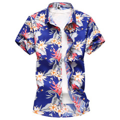 Summer Mens Short Sleeve Beach Hawaiian Shirts Casual Floral Print Shirts Plus Size 01 m