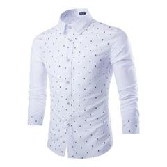 Mens Cotton Skull Prints Shirts Casual Slim Fit Fashion The Park Long Sleeve Summer Dress Shirts white m