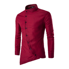 New Design Casual Asymmetric Shirt Men's Slim Personality Long Sleeve Shirt red m