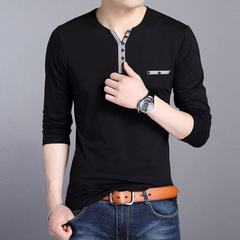 Men Tee Shirt  Long Sleeve Men's T-shirt Fashion Slim Fit V-neck Tshirt Casual Male black m cotton